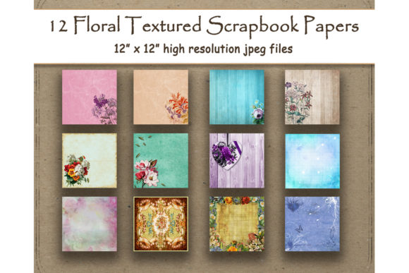 Floral Textured Digital Paper Scrapbook Graphic Backgrounds By DigitalPrintableMe