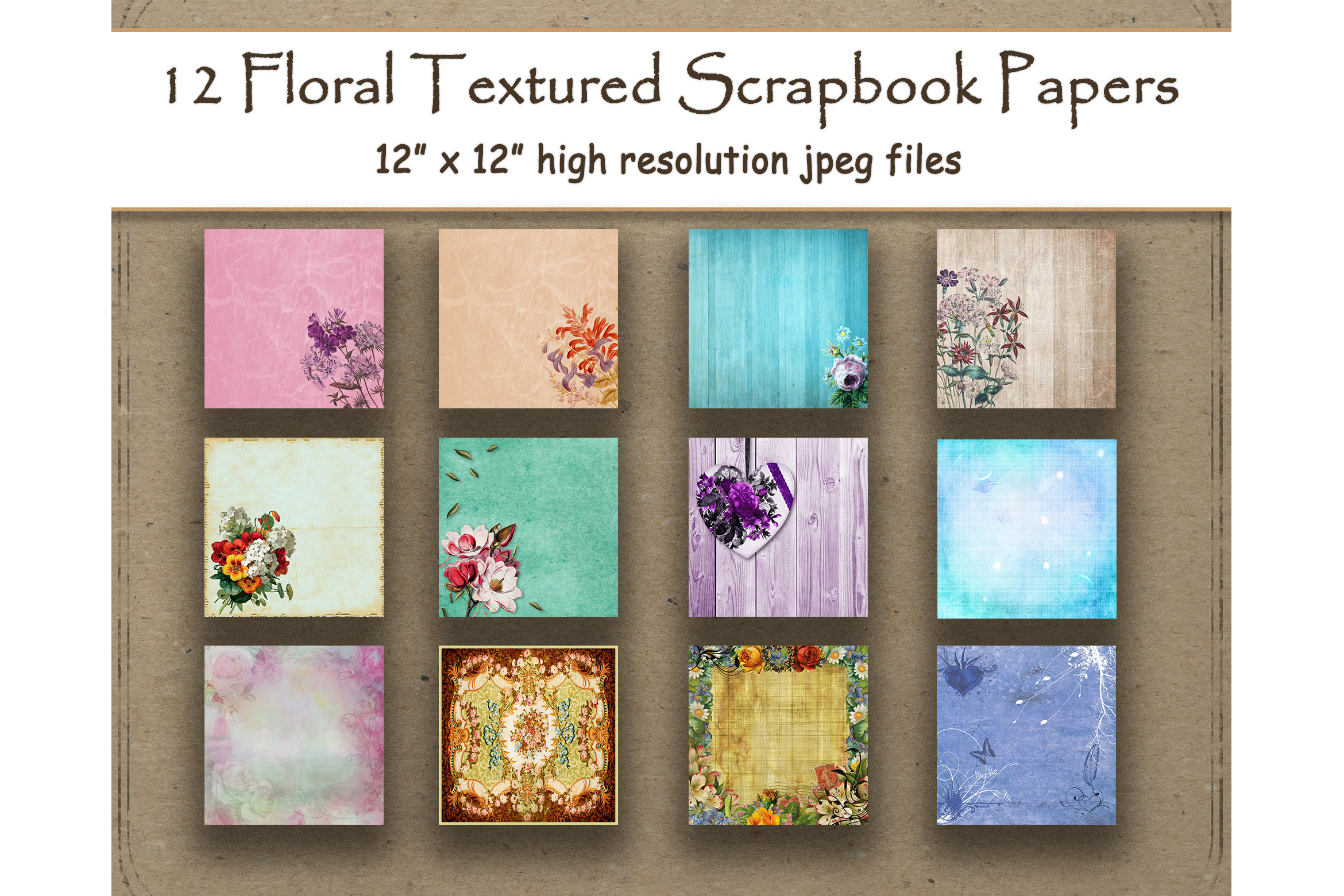 Download Free Floral Textured Digital Paper Scrapbook Graphic By for Cricut Explore, Silhouette and other cutting machines.
