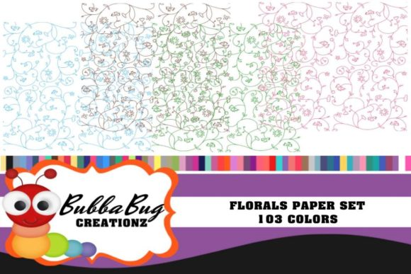 Florals Paper Set Graphic Backgrounds By BUBBABUG