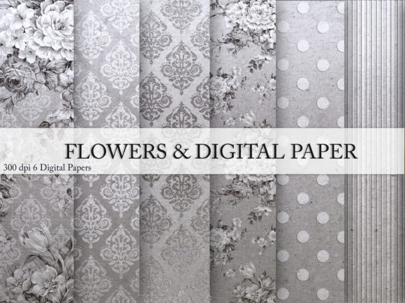 Flowers & Digital Paper Graphic Backgrounds By Creative Paper