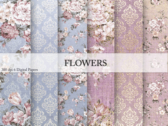 Print on Demand: Flowers & Digital Paper Graphic Textures By Creative Paper - Image 1