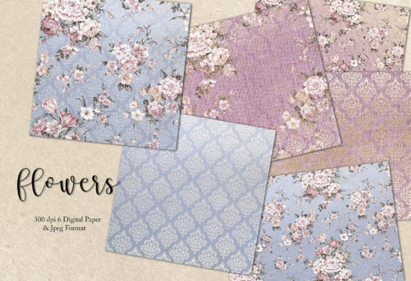 Print on Demand: Flowers & Digital Paper Graphic Textures By Creative Paper - Image 2
