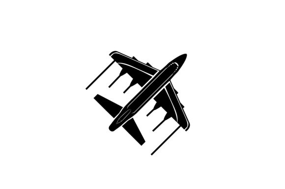 Flying Airplane Silhouette Graphic By Rfg Creative Fabrica