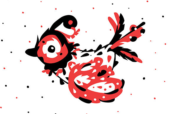 Print on Demand: Flying Bird - Red, Black, White Colors. Graphic Illustrations By Milaski