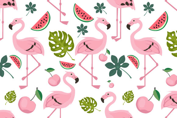 Print on Demand: Flying Flamingo Pattern Seamless Vector Graphic Patterns By iop_micro