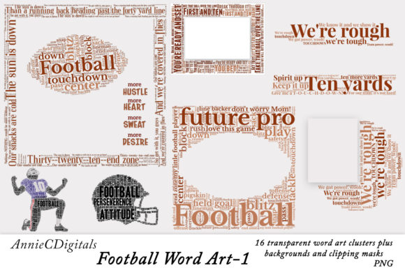 Download Free Football Word Art Clusters Clip Art Graphic By Anniecdigitals for Cricut Explore, Silhouette and other cutting machines.