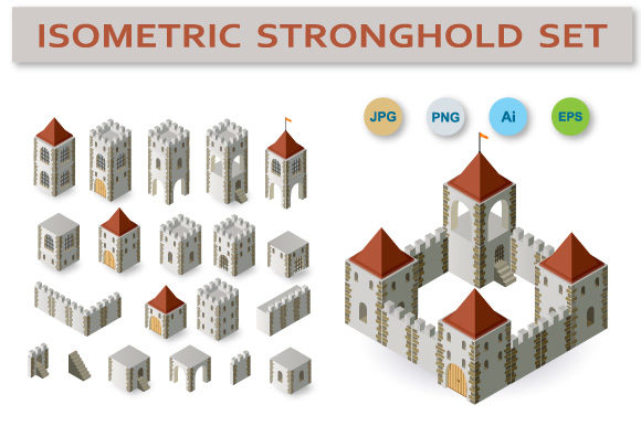Print on Demand: Fortress Isometric Set Graphic Icons By AlexZel