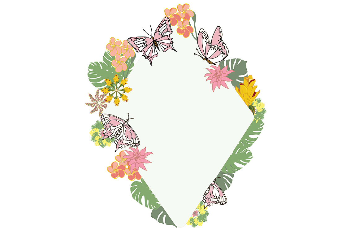 Download Free Frame With Butterflies Tropical Leaves Graphic By Kakva for Cricut Explore, Silhouette and other cutting machines.
