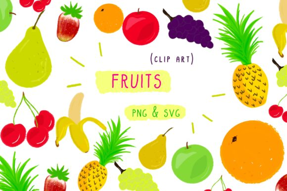 Print on Demand: Fruits Vegan Pineapple Food Clip Art Set Graphic Icons By Inkclouddesign