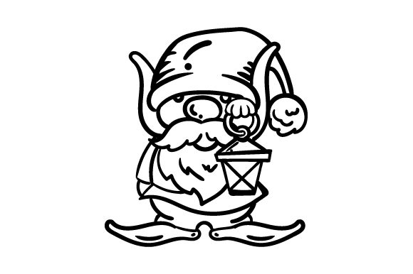 Download Free Garden Gnome Line Art Drawing Svg Cut File By Creative Fabrica for Cricut Explore, Silhouette and other cutting machines.