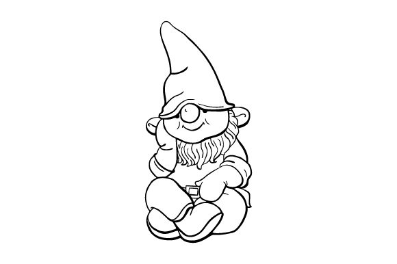 Garden Gnomes Line Art Drawings Designs & Drawings Craft Cut File By Creative Fabrica Crafts - Image 1