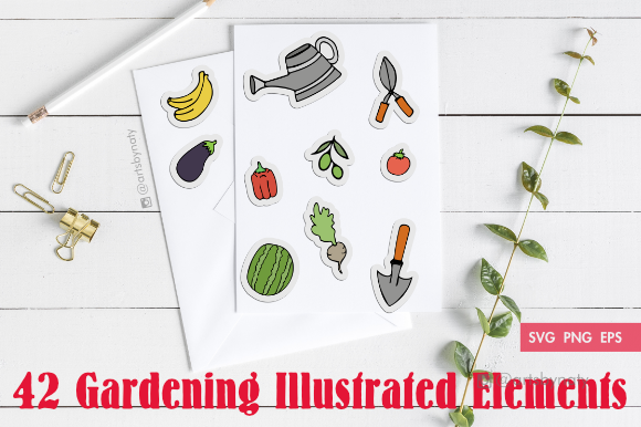 Print on Demand: Gardening Illustrated Elements Bundle Graphic Illustrations By artsbynaty