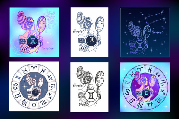 Gemini Zodiac Sign Female Image Graphic Illustrations By grigaola - Image 2