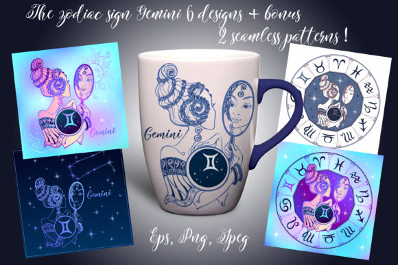 Gemini Zodiac Sign Female Image Graphic Illustrations By grigaola - Image 1