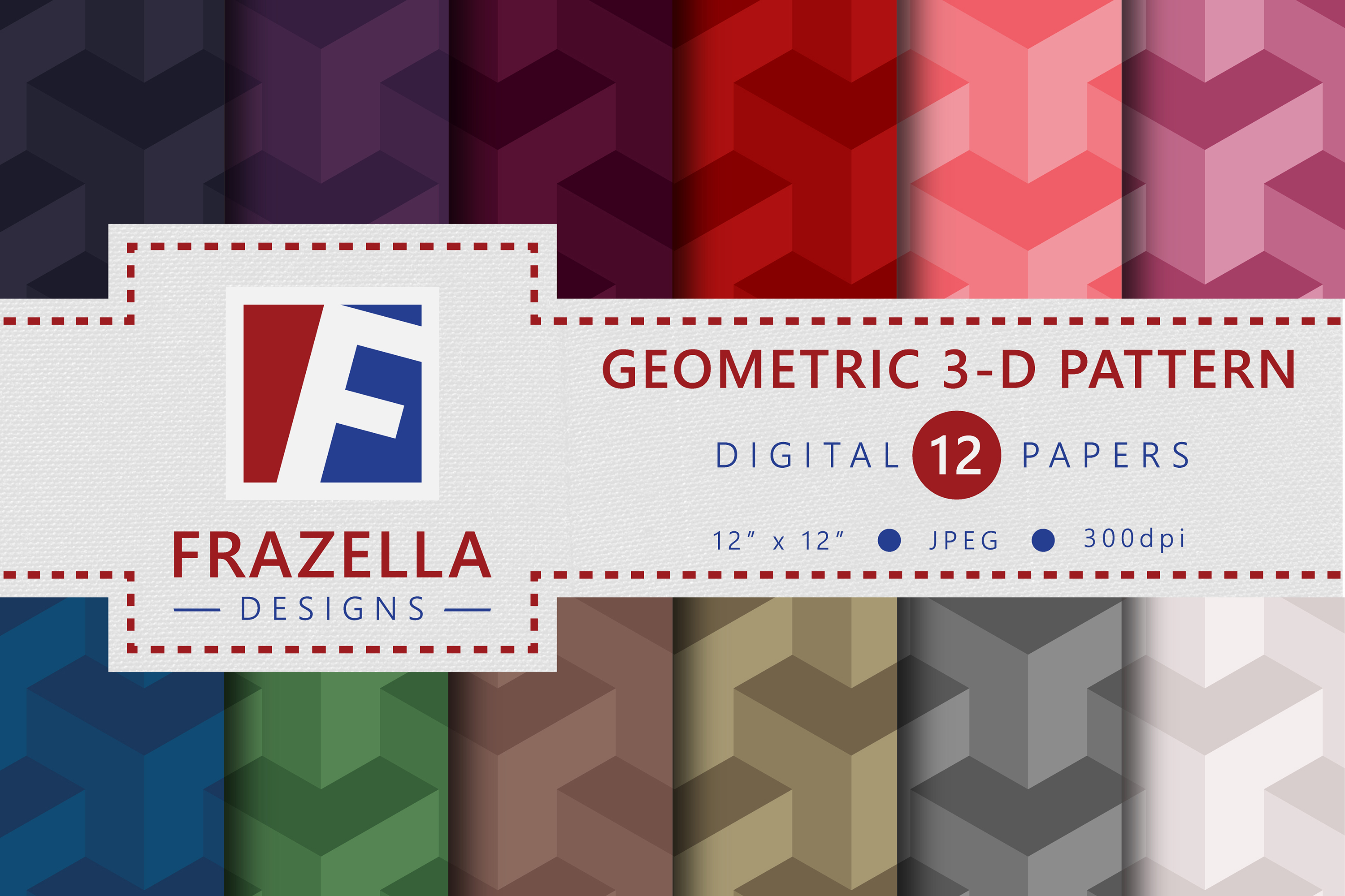 Download Free Geometric 3 D Digital Papers Collection Graphic By Frazella for Cricut Explore, Silhouette and other cutting machines.