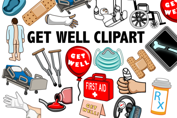 Print on Demand: Get Well Clipart Graphic Illustrations By Mine Eyes Design