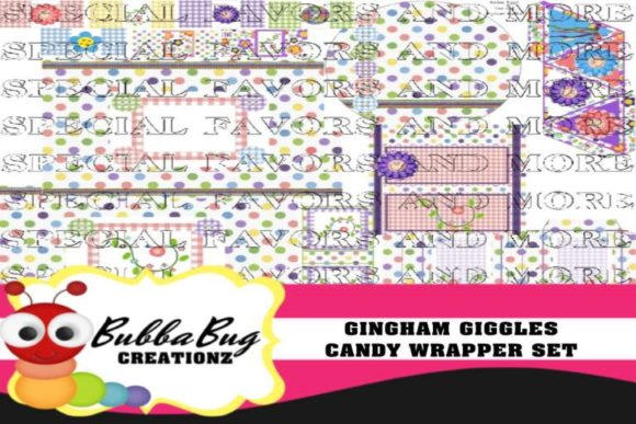 Gingham Giggles  Candy Wrapper Set Graphic Crafts By BUBBABUG