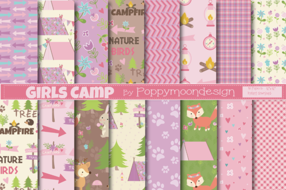 Print on Demand: Girls Camp Papers Graphic Patterns By poppymoondesign