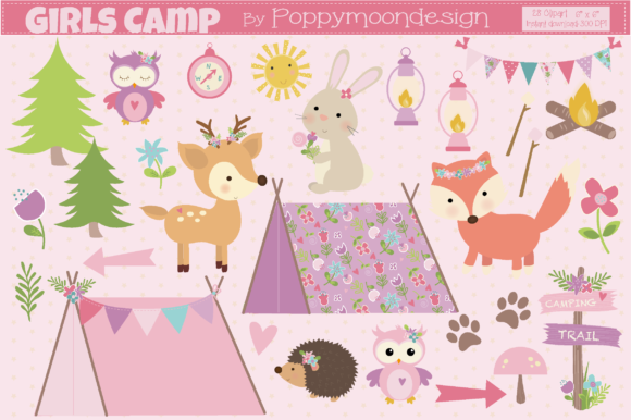 Print on Demand: Girls Camp Graphic Illustrations By poppymoondesign