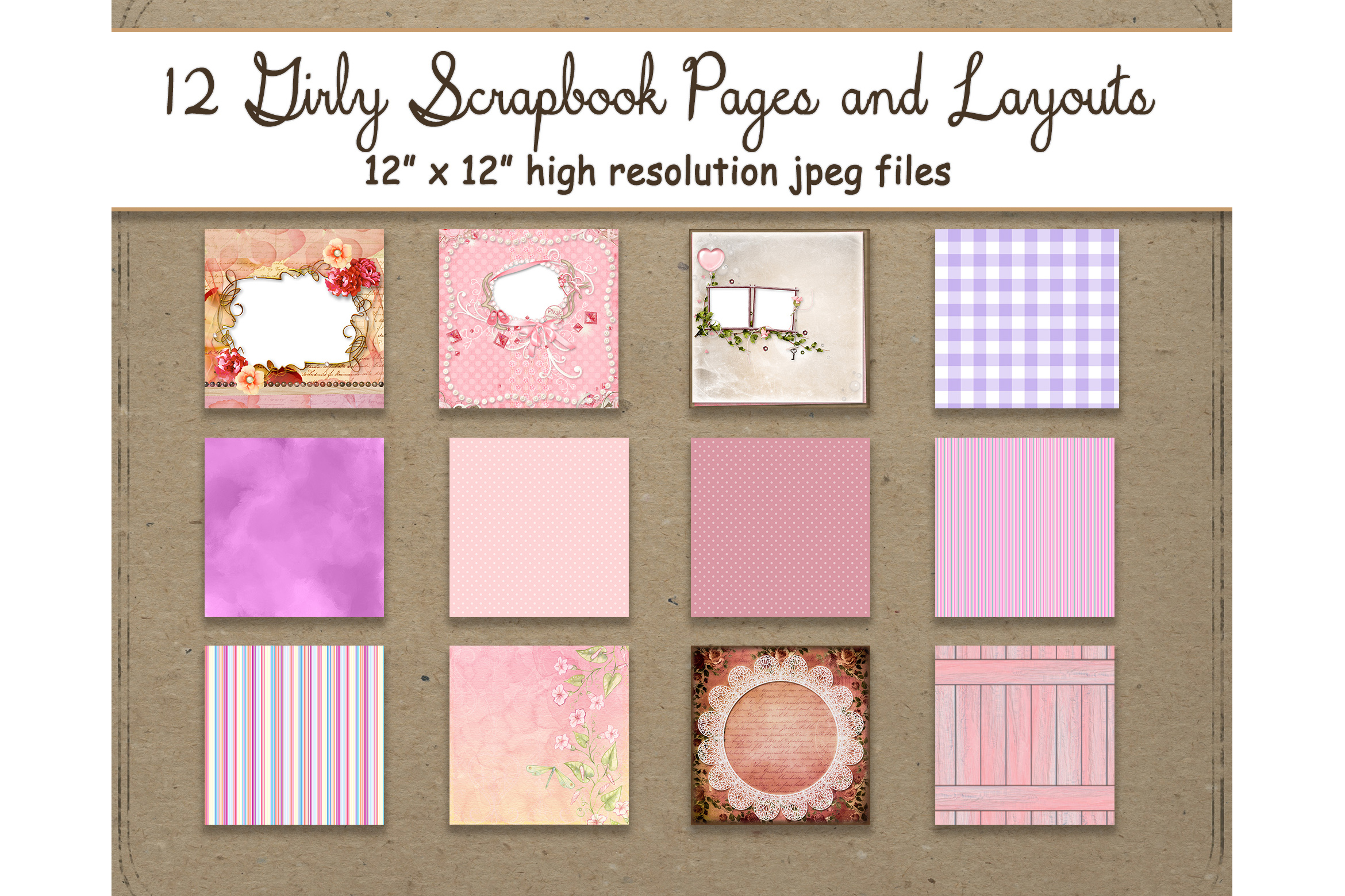 Download Free Girly Digital Paper Layout 12 Scrapbook Graphic By for Cricut Explore, Silhouette and other cutting machines.