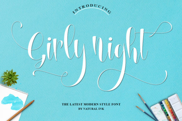 Print on Demand: Girly Night Script & Handwritten Font By Natural Ink