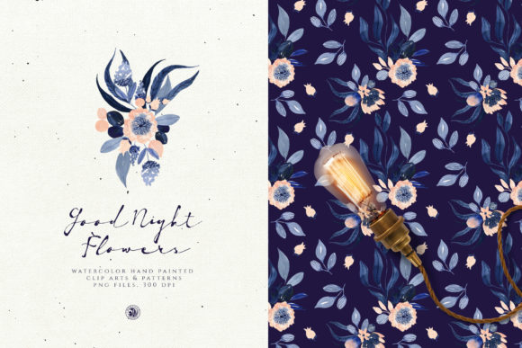 Print on Demand: Good Night Flowers Graphic Illustrations By webvilla - Image 2