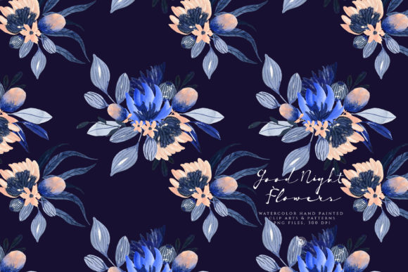 Print on Demand: Good Night Flowers Graphic Illustrations By webvilla - Image 3