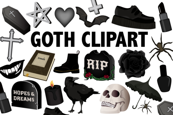 Print on Demand: Goth Clipart Grafik Illustrationen von Mine Eyes Design