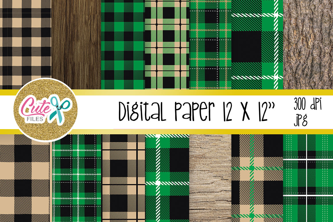 Download Free Green Buffalo Plaid Pattern Lumberjack Digital Paper Graphic By for Cricut Explore, Silhouette and other cutting machines.