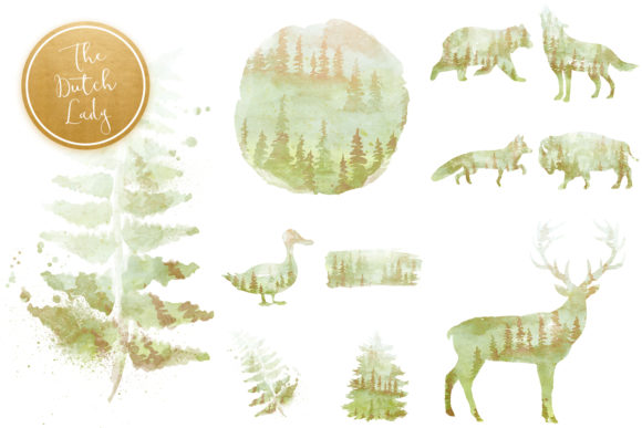 Print on Demand: Green Winter Forest Animal Clipart Set Graphic Illustrations By daphnepopuliers - Image 4