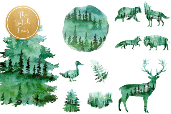 Print on Demand: Green Winter Forest Animal Clipart Set Graphic Illustrations By daphnepopuliers - Image 5
