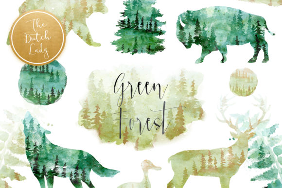 Print on Demand: Green Winter Forest Animal Clipart Set Graphic Illustrations By daphnepopuliers