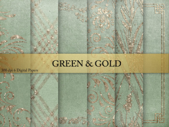 Print on Demand: Gren & Gold Digital Paper Graphic Textures By Creative Paper - Image 1
