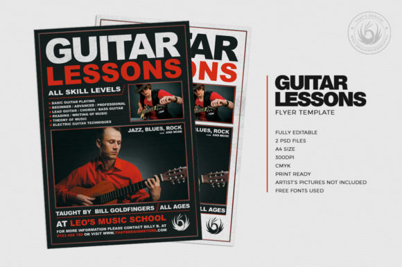 Guitar Lessons Flyer Template V1 Graphic By ThatsDesignStore Image 2