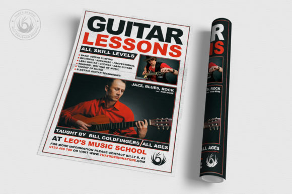 Guitar Lessons Flyer Template V1 Graphic By ThatsDesignStore Image 3