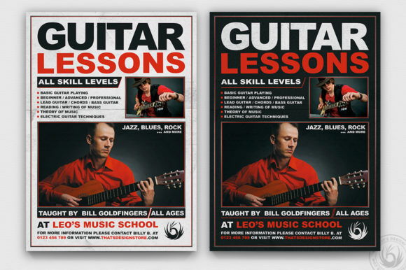 Guitar Lessons Flyer Template V1 Graphic By ThatsDesignStore