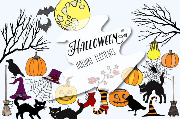 Print on Demand: Halloween Holiday Colors Clip Art Graphic Illustrations By natalia.piacheva