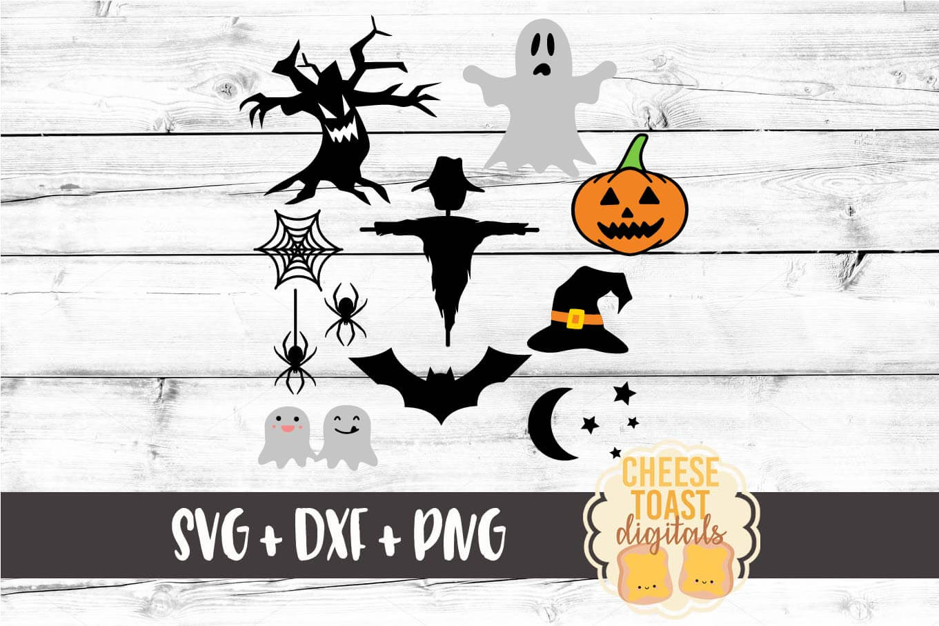 Download Free Halloween Svg Set Pumpkin Ghost Bat Moon Graphic By for Cricut Explore, Silhouette and other cutting machines.