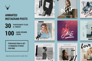 Hand-Drawn Instagram Post Templates Pack - 30 Templates Graphic By SilverStag