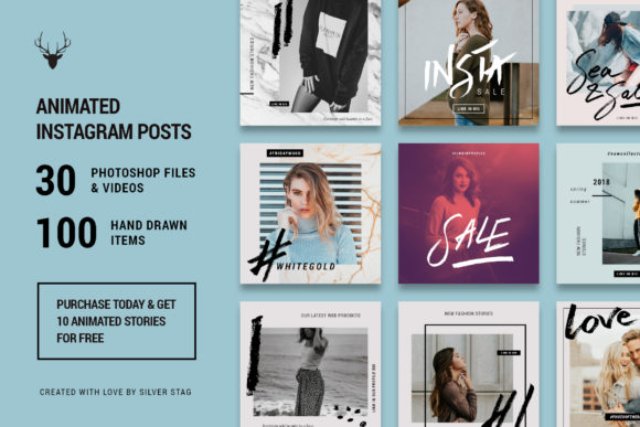 Print on Demand: Hand-Drawn Instagram Post Templates Pack - 30 Templates Graphic Websites By SilverStag