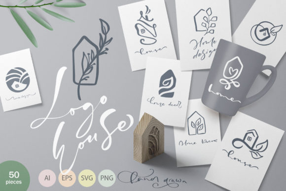 Hand Drawn Logo House Vector Elements Graphic Objects By Happy Letters - Image 1