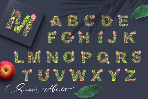 Hand Drawn Summer Flower Alphabet Graphic Illustrations By Happy Letters - Image 3