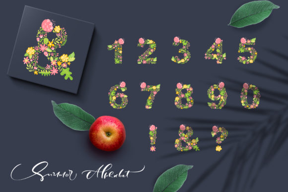 Hand Drawn Summer Flower Alphabet Graphic Illustrations By Happy Letters - Image 4