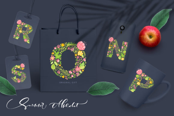 Hand Drawn Summer Flower Alphabet Graphic Illustrations By Happy Letters - Image 5