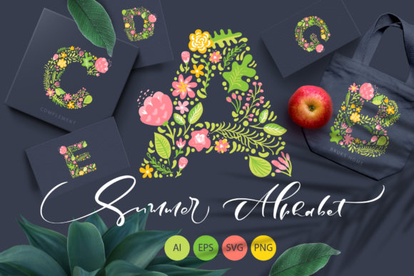 Hand Drawn Summer Flower Alphabet Graphic By Happy Letters