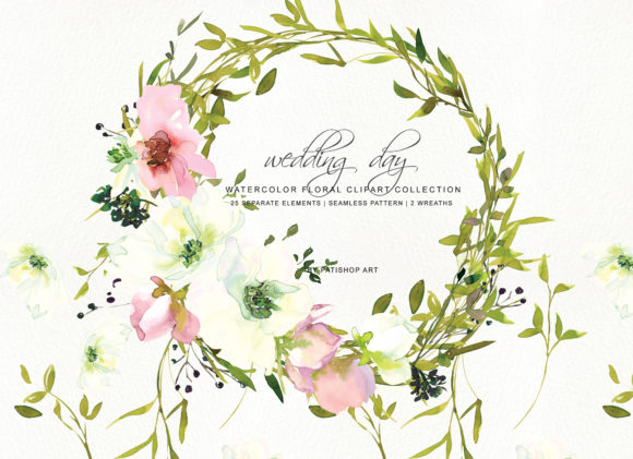Hand Painted Watercolor Blush and White Graphic Illustrations By Patishop Art