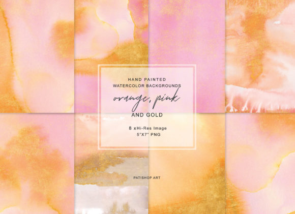 Hand Painted Watercolor Sparkling Background Graphic Textures By Patishop Art - Image 1
