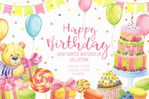 Happy Birthday Watercolor Collection Graphic By Nata Art Graphic