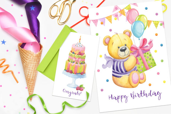 Print on Demand: Happy Birthday Watercolor Collection Graphic Illustrations By Nata Art Graphic - Image 9