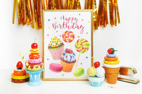 Print on Demand: Happy Birthday Watercolor Collection Graphic Illustrations By Nata Art Graphic - Image 10